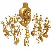 Businessmen Gathering Towards Dollar Symbol