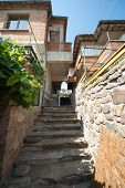 Stone stairs in the old town of Sozopol in Bulgaria