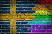 stock photo of sweden flag  - Dark brick wall texture  - JPG