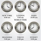Set Of Colorful Clock Icon,world Time Concept.