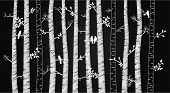 Vector Chalkboard Birch or Aspen Trees with Autumn Leaves and Love Birds