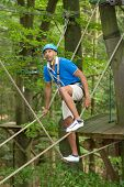 Sportsman Is Climbing At High Rope Course