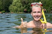 Man With Diving Goggles In The Water