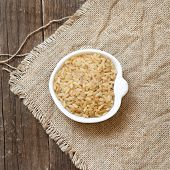 Raw Unpolished Rice In A Bowl