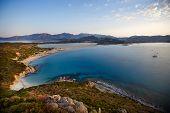 Aerial view of Villasimius beach, Sardinia, Italy
