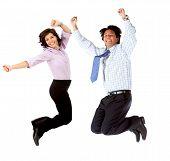 Постер, плакат: Бизнес пара прыжки