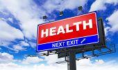 Health Inscription on Red Billboard.