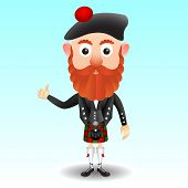 stock photo of kilt  - Scottish character male cartoon in traditional kilt - JPG