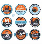 Set of outdoor adventure labels, vector illustration