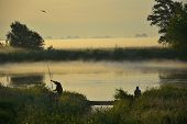 Foggy, sunny morning on the river