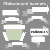 The collection of  orange retro ribbons banners