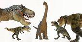 A Tyrannosaurus Rex Pack Menaces A Brachiosaurus