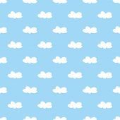 White clouds on light blue sky tile vector background