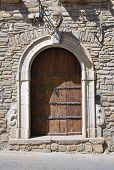 Wooden door. Guardia Perticara. Basilicata. Italy.