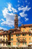Houses And Lamberti Tower - Verona Italy