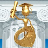 Golden Grad With Class Ring And Diploma Graduation Concept