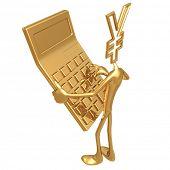 Yen Holding Giant Golden Calculator