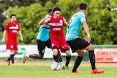 Sisaket Thailand-september 17: Terukazu Tanaka Of Sisaket Fc. In Action During Unofficial Friendly M