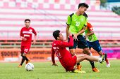 Sisaket Thailand-september 17: Sarayuth Chaikamdee Of Sisaket Fc. In Action During Unofficial Friend