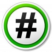 stock photo of hashtag  - illustration of hashtag white and green round icon - JPG