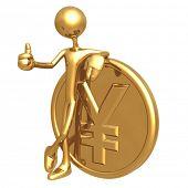 Thumbs Up Golden Yen Coin