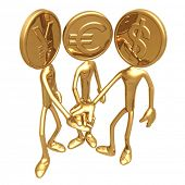 All For One One For All Golden Coins Yen Euro Dollar