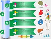 stock photo of human kidneys  - Medical health and healthcare icons and data elements infographic heart brain kidney and other human organs symbols - JPG