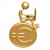 Online Banking Investment Concept Sitting On Large Golden Euro Coin