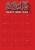 Happy New year 2015 calendar.Outline curly Figures