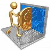 Sending Receiving A Gold Dollar Coin Through The Internet On A Laptop