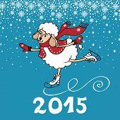 2015 Year of Sheep. Cartoon sheep skate
