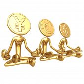 Financial Gurus Gold Coins Yen Euro Dollar