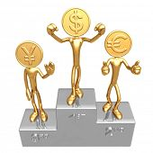 Gold Coin Champions Podium Yen Euro Dollar