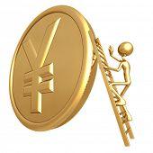 Climbing Ladder On Giant Gold Yen Coin