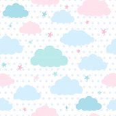 Kids Background With Clouds And Stars