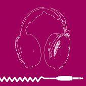 Headphones Outline Design vector