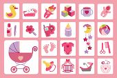 Newborn Baby girl icons set.Baby shower