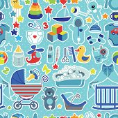 Newborn Baby boy seamless pattern with Polka dot