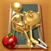 Little Golden Student With A Piggy Bank On School Desk