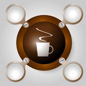 Brown Circular Frame For Text And Cup Of Coffee