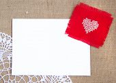 Valentine card with cross stitched heart