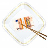 Plate Chopsticks And Fifty Euro Pack