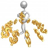 3D silver man holding a dollar symbol, surrounded by lots of gold dollar signs