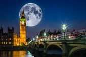 London night scene with Big Ben