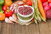 Mung And Azuki Beans In A Bowl And Vegetables