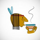 Indian head with brown skin. Vector design