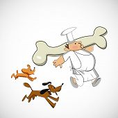 Chef carrying a bone for dogs. Vector sketch