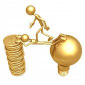 Sacrifice Bridge Between An Idea And A Gold Yen Coin Stack