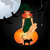 Halloween Night Background With Witch And Pumpkins