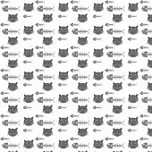 Seamless Vector Pattern Cats And Fishbone